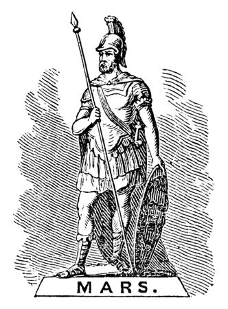 A statue of Mars who was god of war in ancient roman religion and myth, vintage line drawing or engraving illustration.