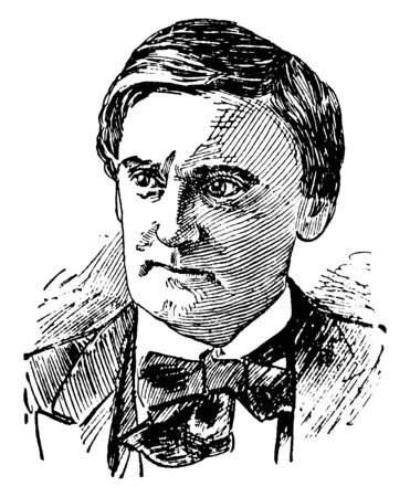 Joseph Jefferson, 1829-1905, he was an American actor and one of the most famous of all nineteenth century American comedians, vintage line drawing or engraving illustration 일러스트