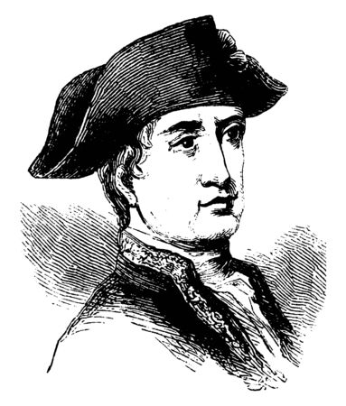 Viscount Viomenil, he was a general during the American revolution, vintage line drawing or engraving illustration