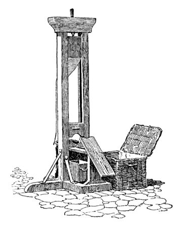 This is a machine which was used for the death penalty in the old time, vintage line drawing or engraving illustration.