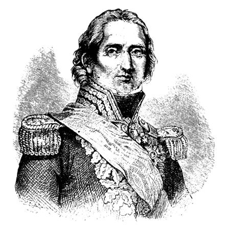 Soult, 1769-1851, he was a French general, statesman, and prime minister of France, vintage line drawing or engraving illustration  イラスト・ベクター素材