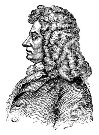 George I, King of England, 1660-1727, he was the king of Great Britain and Ireland from 1714 to 1727, ruler of the Duchy and Elector of Hanover in the Holy Roman Empire, vintage line drawing or engrav