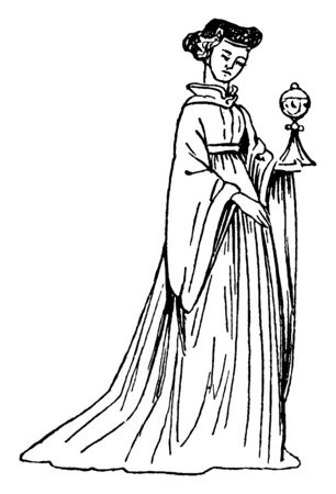 Female Costume of 15th Century England which was often silk velvets with silver gilt wefts, vintage line drawing or engraving illustration.