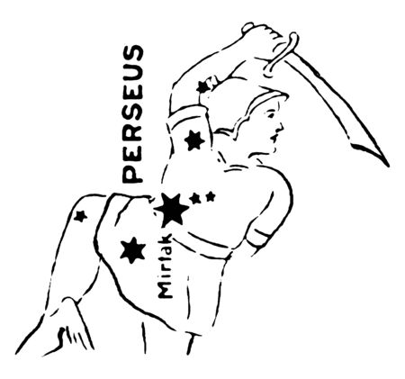 Perseus is a star grouping in the northern sky, being named after the Greek mythological hero Perseus, vintage line drawing or engraving illustration.