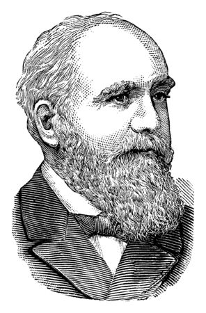 Clinton B. Fisk, 1828-1890, he was a senior officer during reconstruction in the bureau of refugees, freedmen and abandoned lands, vintage line drawing or engraving illustration