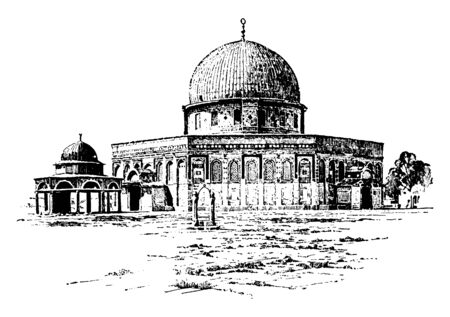 This is oldest Mosque of Omar and also the center of Islams most sacred mosque. It has semi-circle rooftop, vintage line drawing or engraving illustration. Ilustração