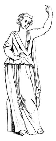 In this freme a lady statue . she wearing a cloth  like a saree. she praiying a god. & she bless, vintage line drawing or engraving illustration.