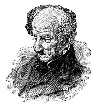 William Wordsworth, 1770-1850, he was a major English Romantic poet, vintage line drawing or engraving illustration