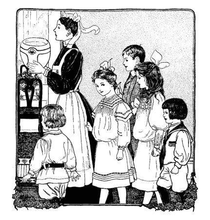 Group of children following maid, she holding bowl in hands, vintage line drawing or engraving illustration