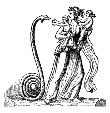 A picture of Latona with Apollo and Artemis where a snake can be seen standing in front of them, vintage line drawing or engraving illustration.
