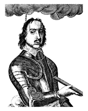 Oliver Cromwell, 1599-1658, he was an English general and political leader and Lord protector of the commonwealth of England, Scotland, and Ireland, vintage line drawing or engraving illustration