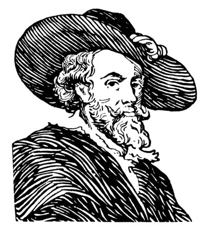 Peter-Paul Rubens, 1577-1640, he was a Flemish artist and the most influential artist of Flemish Baroque tradition, vintage line drawing or engraving illustration