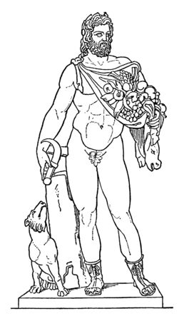 In this image there is a human statue in its arms and there is a lot of fruit in its begging. The dog standing next to him is looking at him, vintage line drawing or engraving illustration.