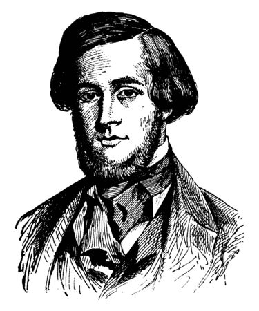 William Morton, 1819-1868, he was an American dentist who first publicly demonstrated the use of inhaled ether as a surgical anaesthetic in 1846, vintage line drawing or engraving illustration