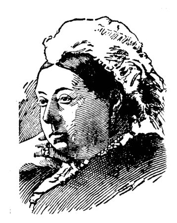 Queen Victoria of England, 1819-1901, she was the queen of England from 1837 to 1901, vintage line drawing or engraving illustration 일러스트