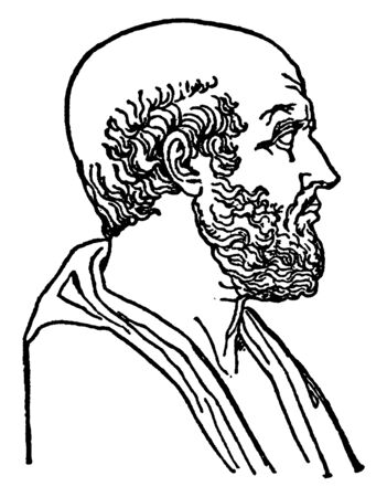 Hippocrates, c. 460-c. 370 BC, he was a Greek physician of the Age of Pericles, famous as the father of medicine, vintage line drawing or engraving illustration