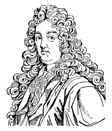 Jean Racine, 1639-1699, he was a French dramatist and one of the three great playwrights of seventeenth-century France, vintage line drawing or engraving illustration