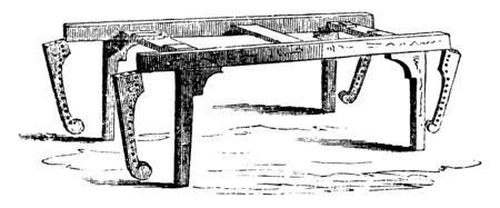 This is a frame on which a corpse it is laid before burial, vintage line drawing or engraving illustration. Ilustracja