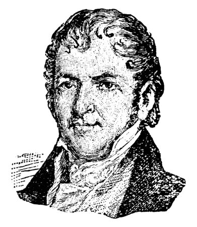 Eli Whitney, 1765-1825, he was an American inventor, famous for inventing the cotton gin, vintage line drawing or engraving illustration