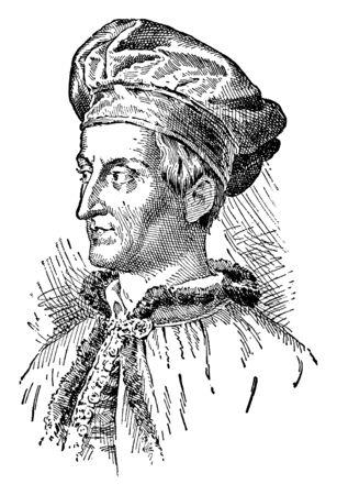 Amerigo Vespucci, 1454-1512, he was an Italian explorer, financier, navigator and cartographer, vintage line drawing or engraving illustration