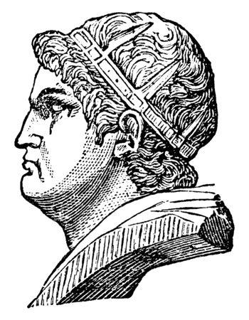Néron, il était l'empereur de l'Empire romain, dessin de ligne vintage ou illustration de gravure Vecteurs