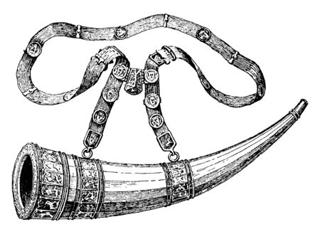 In this picture this Hunting Horn, which is used it when you goes out for hunting & when you came back to home, vintage line drawing or engraving illustration.