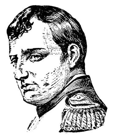 Napoleon, 1769-1821, he was a French military and political leader, emperor of the French and king of Italy, vintage line drawing or engraving illustration