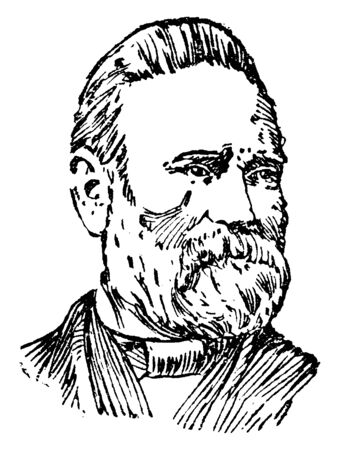 Stanley Matthews, 1824-1889, he was an associate Justice of the United States supreme court, vintage line drawing or engraving illustration