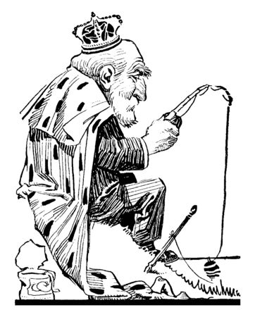 It looks like an old man dressed up like king & trying to grab fish, vintage line drawing or engraving illustration.