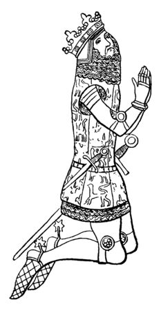 Edward III, 1312-1377, he was the king of England from 1327 to 1377, famous for his military success and for restoring royal authority, vintage line drawing or engraving illustration
