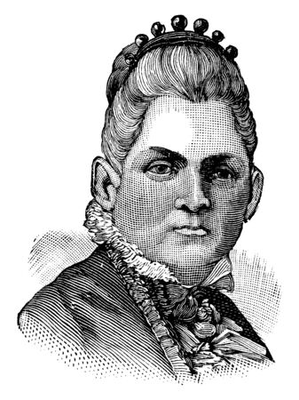 Mrs. John A. Logan, she was the wife of General John A. Logan, vintage line drawing or engraving illustration