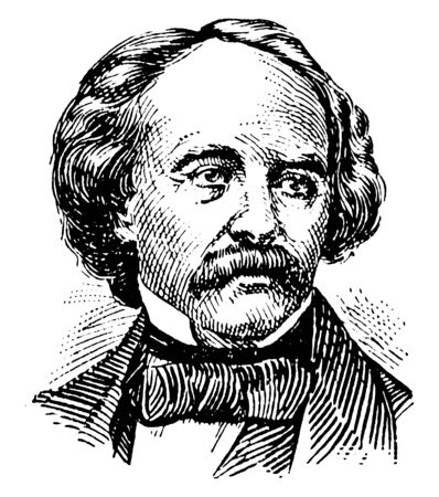 Nathaniel Hawthorne, 1804-1864, he was an American novelist and short story writer, famous for his work The House of the Seven Gables, Twice-Told Tales, and The Scarlet Letter, vintage line drawing or engraving illustration