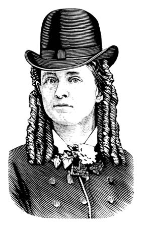 Dr. Mary Edwards Walker, 1832-1919, he was an American abolitionist, prohibitionist, prisoner of war and surgeon, vintage line drawing or engraving illustration Stock Illustratie