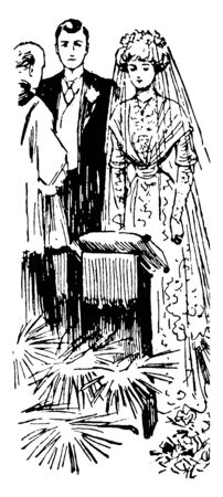 A bride & groom getting married with each other. Bride has worn a bridal gown & Groom has wearing wedding coat, vintage line drawing or engraving illustration.