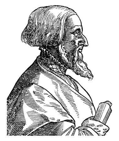 Simon Grynaeus, 1493-1541, he was a German scholar and theologian of the protestant reformation, vintage line drawing or engraving illustration