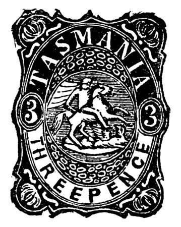 This illustration represents Tasmania Three Pence Revenue Stamp in 1882, vintage line drawing or engraving illustration.