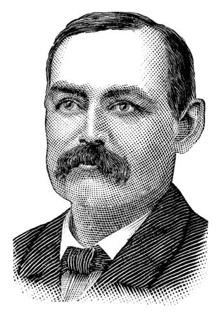 James W. Hyatt, 1837-1893, he was Treasurer of the United States from 1887 to 1889 and bank commissioner for the state of Connecticut, vintage line drawing or engraving illustration