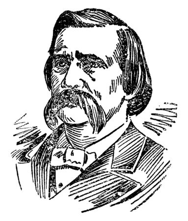 John Logan, 1826-1886, he was an American soldier, general in the union army in the American civil war and United States senator from Illinois, vintage line drawing or engraving illustration