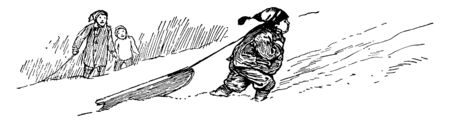 Boy Dragging his Sled where a boy dragging his sled uphill in the snow, vintage line drawing or engraving illustration.