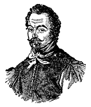 Sir Francis Drake, 1540-1596, he was an English sea captain, privateer, navigator, and civil engineer of the Elizabethan era, and first European visitor to Oregon, vintage line drawing or engraving il  イラスト・ベクター素材