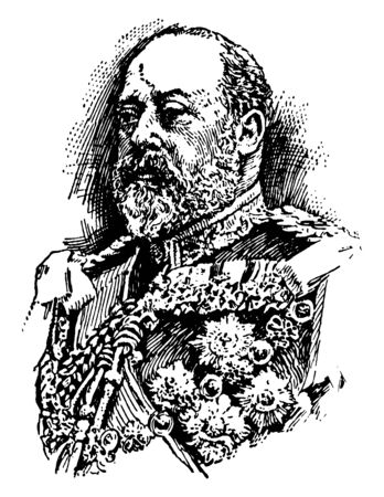 Edward VII, 1841-1910, he was the king of the United Kingdom and the British dominions and Emperor of India from 1901 to 1910, vintage line drawing or engraving illustration Foto de archivo - 133484884