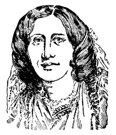George Eliot is the literary name assumed by Marian Evans, who was a novelist, vintage line drawing or engraving illustration.