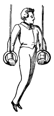Boy exercising on ring pulling it with hands and keep   body straight in air, vintage line drawing or engraving illustration. Ilustração