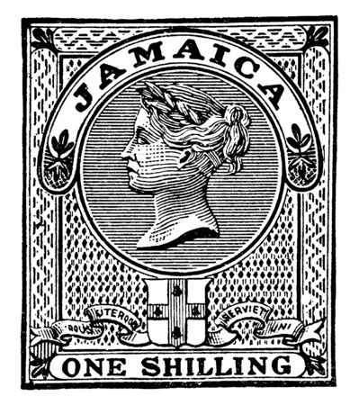 This illustration represents Jamaica One Shilling Revenue Stamp in 1880, vintage line drawing or engraving illustration. 일러스트