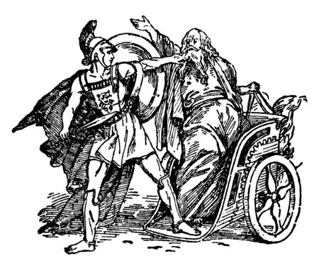 After being old, Oedipus was told by the oracle that he would kill his father and marry his mother. After returning to Corinth, he met Laius in a narrow way and killed him in the road controversy, vintage line drawing or engraving illustration.