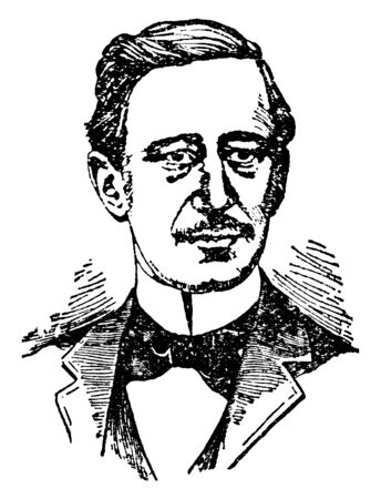 William Marconi, 1874-1937, he was an Italian inventor and electrical engineer, famous for his pioneering work on long-distance radio transmission and for his development of Marconis law, vintage line drawing or engraving illustration