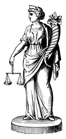 In this image are personification of law and. And the scales in his hands and the other hand has a animal horn in it with grass and flowers, vintage line drawing or engraving illustration.