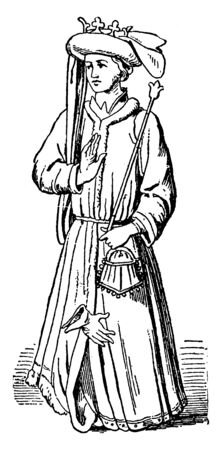 King Richard II, 1367-1400, he was the king of England from 1377 to 1399, vintage line drawing or engraving illustration 일러스트