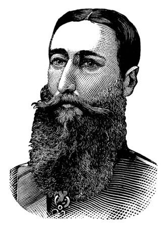 Leopold II, 1835-1909, he was the king of the Belgians from 1865 to 1909, famous for the founding and exploitation of the Congo free state as a private venture, vintage line drawing or engraving illustration Illusztráció