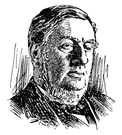 Sir William Harcourt, 1827-1904, he was a British lawyer, journalist, liberal statesman, chancellor of the exchequer, and member of parliament, vintage line drawing or engraving illustration 向量圖像